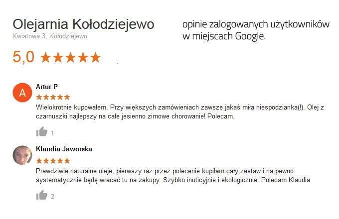 opinie użytkowników Google o Olejarnia Kołodziejewo